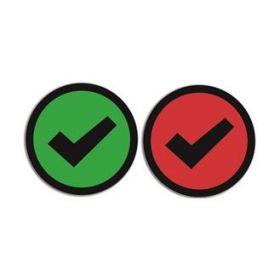 Dubbelzijdige magneet voor whiteboards - Check - Groen/Rood (5 stuks)
