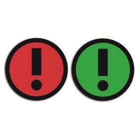 Dubbelzijdige magneet voor whiteboards - Uitroepteken - Groen/Rood (5 stuks)