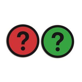 Dubbelzijdige magneet voor whiteboards - Vraagteken - Groen/Rood (5 stuks)