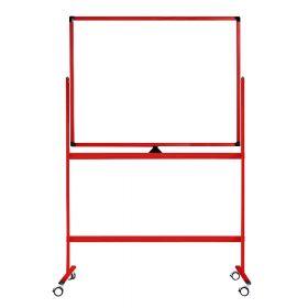 Verrijdbaar whiteboard - Dubbelzijdig en magnetisch - 100x150 cm - Rood