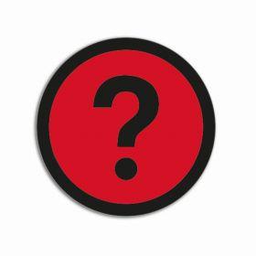Impressiemagneten – Vraagteken rood – Ø 50 mm – set van 5 stuks