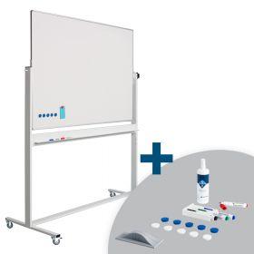 Whiteboard Verrijdbaar - Dubbelzijdig - Magnetisch - Emaille 120 x 150 cm