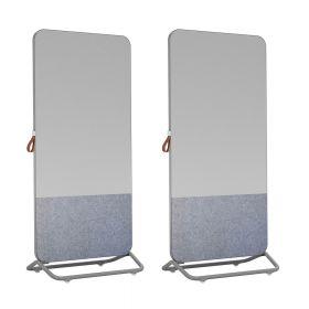 Chameleon Mobile 1/3e prikbord 2/3e whiteboard dubbelzijdig 89 x 192 cm - Grijs