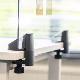 Scheidingsscherm / bureauscherm plexiglas - Incl. bureauklemmen voor enkel bureau - 58x75 cm
