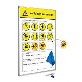 Veiligheidsregels attentiebord 60x90 cm - incl. magneten, wisser en stift