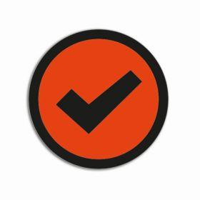 Impressiemagneten – Vinkje oranje – Ø 30 mm – set van 5 stuks